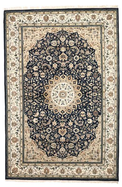 Nain Indisch Teppich  204X308 Echter Orientalischer Handgeknüpfter Beige/Dunkelgrau/Hellgrau ( Indien)