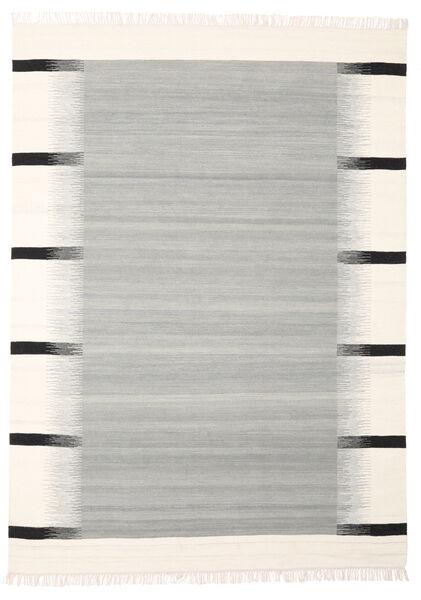 Kati - Grau Teppich  190X240 Echter Moderner Handgewebter Hellgrau/Beige (Wolle, Indien)