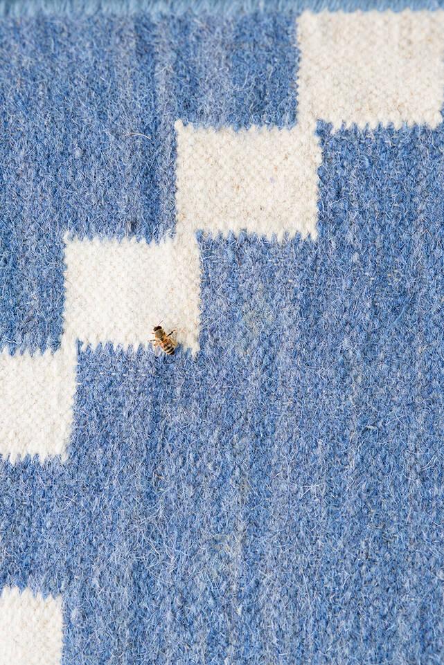 Blauer  Kelim modern - Teppich in einem Flur