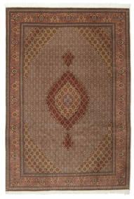 Täbriz 50 Raj Mit Seide Teppich  200X301 Echter Orientalischer Handgeknüpfter Braun/Dunkelbraun (Wolle/Seide, Persien/Iran)