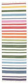 Rainbow Stripe - Weiß Teppich  80X250 Echter Moderner Handgewebter Läufer Beige/Weiß/Creme (Baumwolle, Indien)