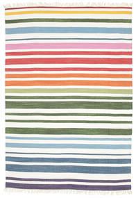 Rainbow Stripe - Weiß Teppich  160X230 Echter Moderner Handgewebter Weiß/Creme (Baumwolle, Indien)