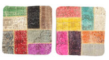 Patchwork Kissenhülle Teppich 50X50 Echter Orientalischer Handgeknüpfter Quadratisch Hellbraun/Hellrosa (Wolle, Türkei)