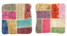Patchwork Kissenhülle Teppich 50X50 Echter Orientalischer Handgeknüpfter Quadratisch Dunkel Beige/Braun (Wolle, Türkei)