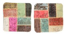 Patchwork Kissenhülle Teppich 50X50 Echter Orientalischer Handgeknüpfter Quadratisch Dunkelbraun/Hellbraun (Wolle, Türkei)