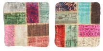 Patchwork Kissenhülle Teppich 50X50 Echter Orientalischer Handgeknüpfter Quadratisch Dunkelbraun/Beige (Wolle, Türkei)