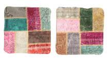 Patchwork Kissenhülle Teppich 50X50 Echter Orientalischer Handgeknüpfter Quadratisch Dunkelgrau/Dunkel Beige (Wolle, Türkei)