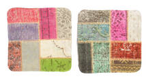Patchwork Kissenhülle Teppich 50X50 Echter Orientalischer Handgeknüpfter Quadratisch Hellgrau/Hell Grün (Wolle, Türkei)