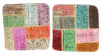 Patchwork Kissenhülle Teppich 50X50 Echter Orientalischer Handgeknüpfter Quadratisch Dunkel Beige/Lindgrün (Wolle, Türkei)