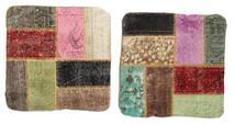 Patchwork Kissenhülle Teppich 50X50 Echter Orientalischer Handgeknüpfter Quadratisch Hell Grün/Dunkelgrau (Wolle, Türkei)