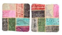 Patchwork Kissenhülle Teppich 50X50 Echter Orientalischer Handgeknüpfter Quadratisch Dunkelgrau/Beige (Wolle, Türkei)