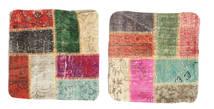 Patchwork Kissenhülle Teppich 50X50 Echter Orientalischer Handgeknüpfter Quadratisch Beige/Dunkelgrün (Wolle, Türkei)