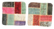 Patchwork Kissenhülle Teppich  50X50 Echter Orientalischer Handgeknüpfter Quadratisch Weiß/Creme/Dunkelbraun (Wolle, Türkei)