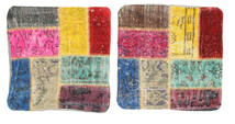 Patchwork Kissenhülle Teppich 50X50 Echter Orientalischer Handgeknüpfter Quadratisch Beige/Dunkelbraun (Wolle, Türkei)
