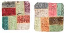 Patchwork Kissenhülle Teppich  50X50 Echter Orientalischer Handgeknüpfter Quadratisch Weiß/Creme/Dunkelgrau (Wolle, Türkei)