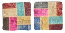 Patchwork Kissenhülle Teppich 50X50 Echter Orientalischer Handgeknüpfter Quadratisch Beige/Hellbraun (Wolle, Türkei)