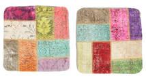 Patchwork Kissenhülle Teppich  50X50 Echter Orientalischer Handgeknüpfter Quadratisch Weiß/Creme/Rost/Rot (Wolle, Türkei)