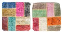 Patchwork Kissenhülle Teppich 50X50 Echter Orientalischer Handgeknüpfter Quadratisch Beige/Rost/Rot (Wolle, Türkei)