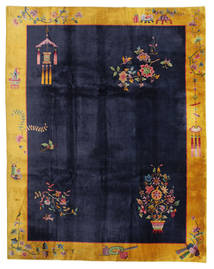 China Antik: Art Deco 1920 Teppich 280X355 Echter Orientalischer Handgeknüpfter Schwartz/Dunkelgrau Großer (Wolle, China)