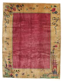China Antik: Art Deco 1920 Teppich 275X360 Echter Orientalischer Handgeknüpfter Hellbraun/Rot/Dunkelrot Großer (Wolle, China)