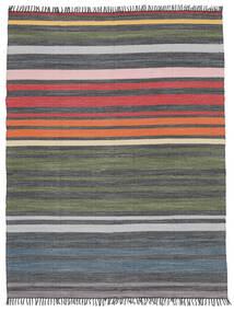Rainbow Stripe - Grau Teppich  250X300 Echter Moderner Handgewebter Dunkelgrau/Olivgrün Großer (Baumwolle, Indien)