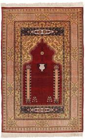 Herike Tu Teppich 82X130 Echter Orientalischer Handgeknüpfter Dunkelrot/Hellbraun (Seide, Türkei)