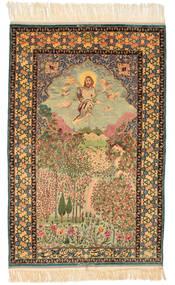 Isfahan Figurativ Signatur: Haghighi Teppich 163X230 Echter Orientalischer Handgeknüpfter Braun/Beige (Wolle/Seide, Persien/Iran)