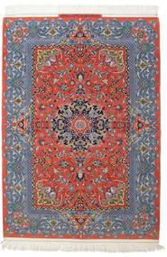 Isfahan Seidenkette Signatur: Haghighi Teppich  150X220 Echter Orientalischer Handgeknüpfter Dunkelgrau/Dunkelrot (Wolle/Seide, Persien/Iran)
