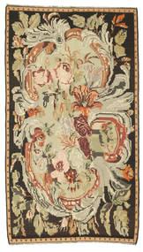 Kelim Rosen Teppich  180X315 Echter Orientalischer Handgewebter Braun/Dunkel Beige (Wolle, Moldawien)
