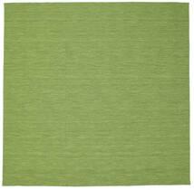 Kelim Loom - Grün Teppich 300X300 Echter Moderner Handgewebter Quadratisch Olivgrün/Hell Grün Großer (Wolle, Indien)