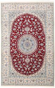 Nain 9La Teppich  202X315 Echter Orientalischer Handgeknüpfter Hellgrau/Dunkelrot (Wolle/Seide, Persien/Iran)