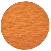 Kelim Loom - Orange Teppich Ø 150 Echter Moderner Handgewebter Rund Orange (Wolle, Indien)