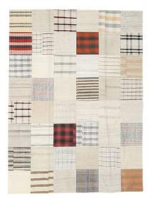 Kelim Patchwork Teppich  170X231 Echter Moderner Handgewebter Weiß/Creme/Beige (Wolle, Türkei)