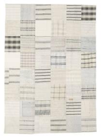 Kelim Patchwork Teppich  171X240 Echter Moderner Handgewebter Beige/Weiß/Creme (Wolle, Türkei)