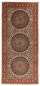 Täbriz 60 Raj Seidenkette Teppich  200X450 Echter Orientalischer Handgeknüpfter Läufer Braun/Dunkelbraun (Wolle/Seide, Persien/Iran)