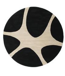 Stones Handtufted - Schwarz Teppich  Ø 225 Moderner Rund Schwartz/Hellgrau (Wolle, Indien)