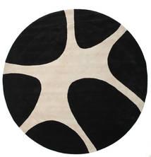 Stones Handtufted - Schwarz Teppich  Ø 300 Moderner Rund Schwartz/Hellgrau Großer (Wolle, Indien)