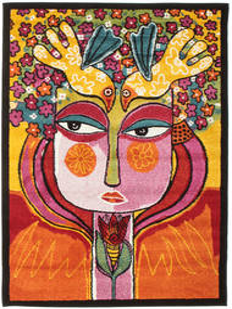 She Has Flowers In Her Hair Teppich  120X180 Moderner Orange/Dunkelbraun ( Türkei)