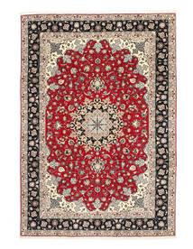 Täbriz 50 Raj Seidenkette Teppich  200X310 Echter Orientalischer Handgeknüpfter Hellgrau/Dunkelgrau (Wolle/Seide, Persien/Iran)