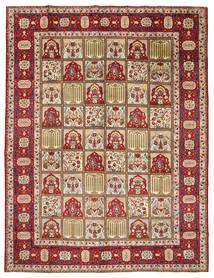 Yazd Teppich  298X383 Echter Orientalischer Handgeknüpfter Dunkelbraun/Hellbraun Großer (Wolle, Persien/Iran)