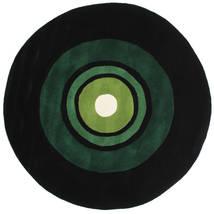 Schallplatte Handtufted Teppich  Ø 150 Moderner Rund Dunkelgrün (Wolle, Indien)