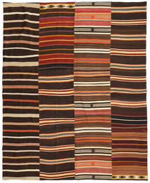 Kelim Patchwork Teppich 242X298 Echter Moderner Handgewebter Dunkelbraun/Rot (Wolle, Türkei)