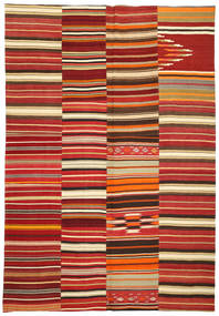 Kelim Patchwork Teppich  245X360 Echter Moderner Handgewebter Dunkelrot/Rost/Rot (Wolle, Türkei)