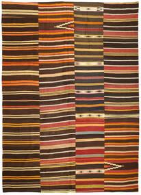 Kelim Patchwork Teppich  254X358 Echter Moderner Handgewebter Dunkelbraun/Rot Großer (Wolle, Türkei)