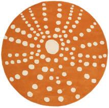 Sjöborre Handtufted - Orange Teppich  Ø 150 Moderner Rund Hellbraun/Orange (Wolle, Indien)