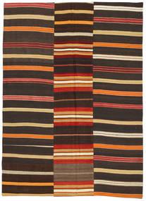 Kelim Patchwork Teppich  168X234 Echter Moderner Handgewebter Dunkelgrau/Dunkelbraun (Wolle, Türkei)