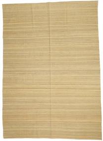 Kelim Modern Teppich  204X284 Echter Moderner Handgewebter Dunkel Beige/Beige (Wolle, Afghanistan)