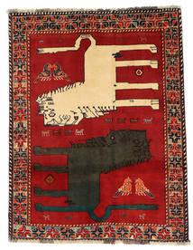 Ghashghai Figurativ Teppich 133X172 Echter Orientalischer Handgeknüpfter Rost/Rot/Dunkelgrau (Wolle, Persien/Iran)