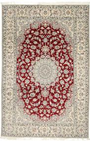Nain 9La Teppich  202X310 Echter Orientalischer Handgeknüpfter Hellgrau/Beige (Wolle/Seide, Persien/Iran)