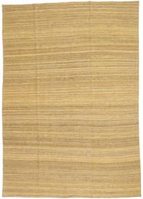 Kelim Modern Teppich  199X283 Echter Moderner Handgewebter Dunkel Beige/Gelb (Wolle, Afghanistan)